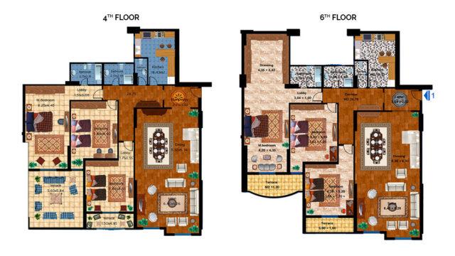 Apartment 1C Total area 336 m<sup>2</sup> to 366 m<sup>2</sup>