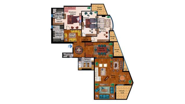 Apartment 2C Total area 353 m<sup>2</sup> to 372 m<sup>2</sup>