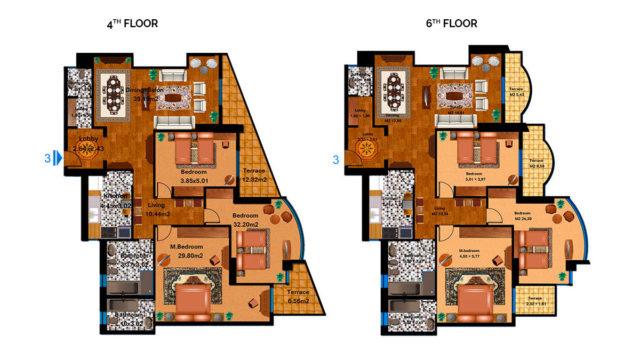 Apartment 3C Total area 218 m<sup>2</sup> to 227 m<sup>2</sup>