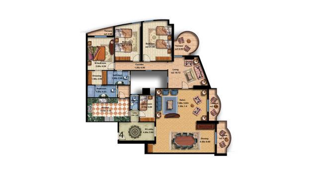 Apartment 4 Total area 310 m<sup>2</sup>