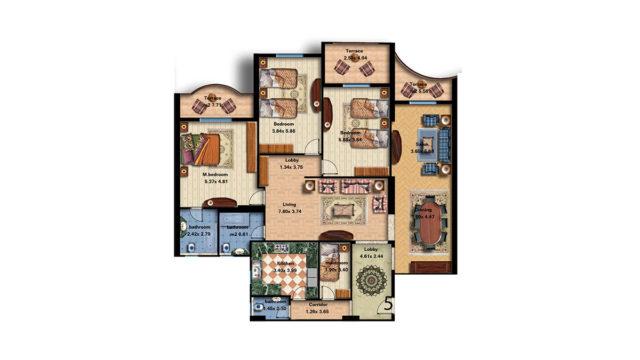 Apartment 5 Total area 273 m<sup>2</sup>