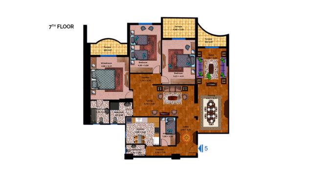 Apartment 5B Total area 273 m<sup>2</sup>