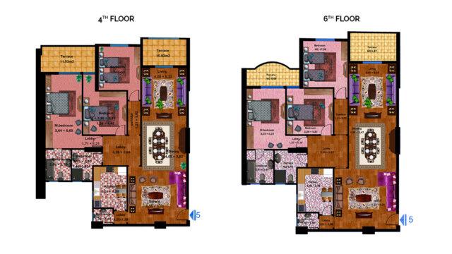 Apartment 5C Total area 218 m<sup>2</sup> to 231 m<sup>2</sup>