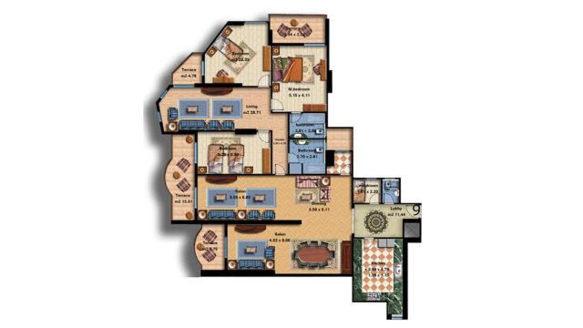 Apartment 9 Total area 326 m<sup>2</sup>